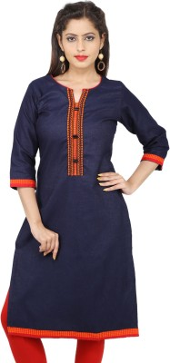 Kurti Hub Festive & Party Self Design Women's Kurti(Blue, Orange)