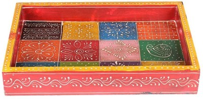 Apkamart Handicraft Wooden Serving Tray - Decorative Tray for Table Decoration, Dining and Serving and Gifts Tray at flipkart