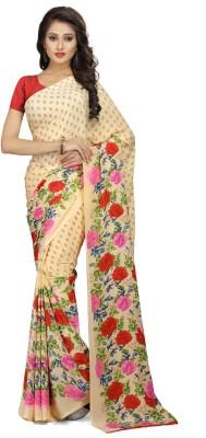Ratnavati Printed Bollywood Crepe, Silk Saree(Brown, Pink)