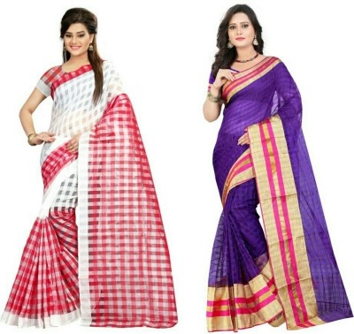 Stylish Sarees Checkered Fashion Cotton Saree(Pack of 2, Multicolor)