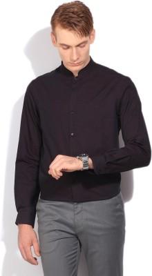 Arrow New York Men's Solid, Self Design Formal Purple Shirt at flipkart