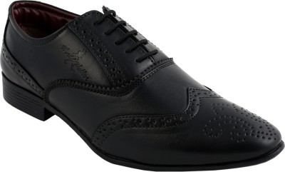World Walker Formal Full Brogue Shoes Lace Up For Men(Black)