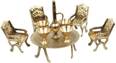 Ethnic Treat Unique Design Dining Table Chair Maharaja Set -139 Decorative Showpiece  -  5.08 cm(Brass, Brown)