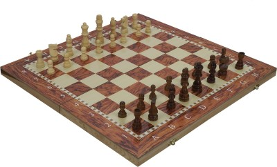 SSB 13 inch folding wooden 3in1 checkeers and backgammon game set 1 inch Chess Board(Multicolor)