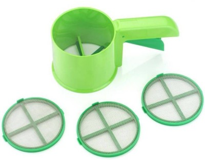 VR 3 in 1 Flour Shifter Strainer With Multi Purpose Scoop Sieve Green Pack of 1