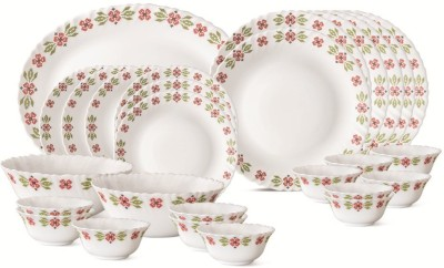 Larah By Borosil Spring Bloom Pack of 27 Dinner Set(Glass) at flipkart