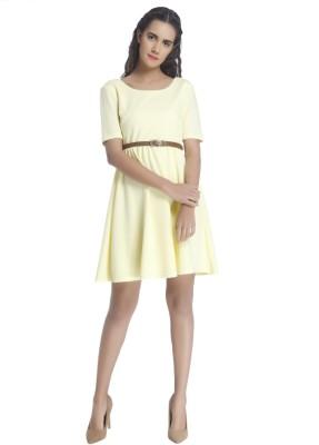 Vero Moda Women Fit and Flare Yellow Dress at flipkart