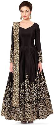 Style Amaze Silk Embroidered, Self Design Semi-stitched Gown
