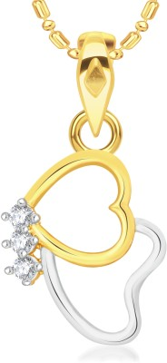 VK Jewels Two Heart Gold-plated Cubic Zirconia Alloy Pendant