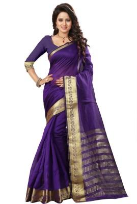 Style U Self Design Chanderi Handloom Art Silk Saree(Blue)