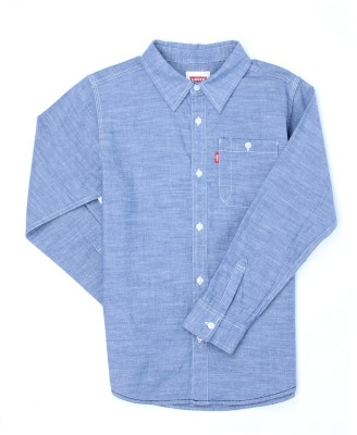 Levi's Boys Solid Casual Blue Shirt  available at flipkart for Rs.599