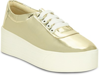 Kielz Gold-Ladies-Lace-up-Platform-Sneakers Sneakers For Women(Gold)