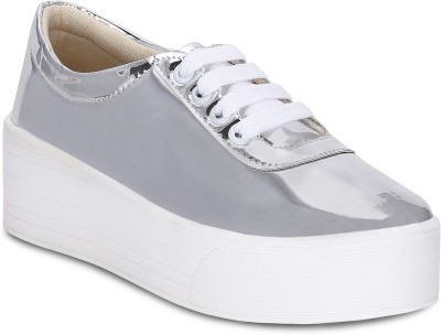 Kielz Silver-Ladies-Lace-up-Platform-Sneakers Canvas Shoes For Women(Silver)