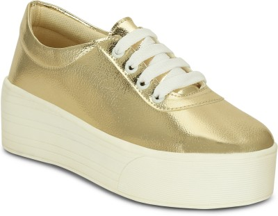 Kielz Gold-Ladies-Lace-up-Platform-Sneakers Canvas Shoes For Women(Gold)