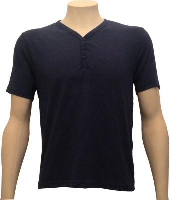 Cool Club Solid Men's Henley Dark Blue T-Shirt