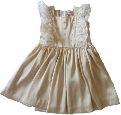 PeachCherry Girls Midi/Knee Length Party Dress(Beige, Sleeveless)