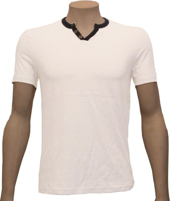 Cool Club Solid Men's Henley White T-Shirt