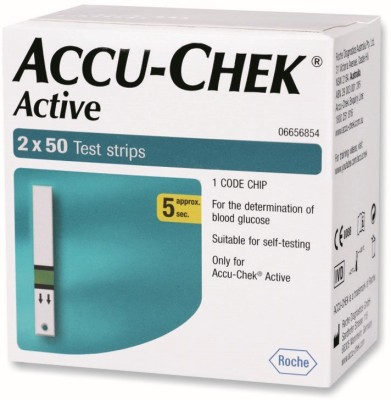 ACCU-CHEK Active Test Strips - 100 Glucometer(Green)