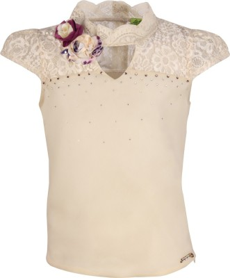 Cutecumber Girls Party Georgette Top(White, Pack of 1)