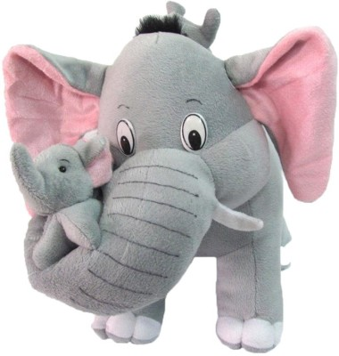 Deals India Mother Elephant With 2 Babies Soft Toy   38 cm   10 cm Multicolor Deals India Soft Toys