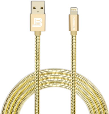 Branko Indestructible Metal Braided Tough Charge & Sync Lightning Cable(Compatible with Mobiles, Tablets, Gold, Sync and Charge Cable) at flipkart