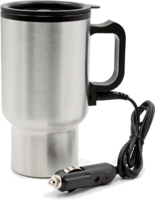 49592352afe Buy Benison India 12V Car Travel Mug Silver Double Wall Stainless Steel for  Hot Coffee Drinks Spill Proof Cup Electric Kettle(0.45 L, Grey) on Flipkart  ...