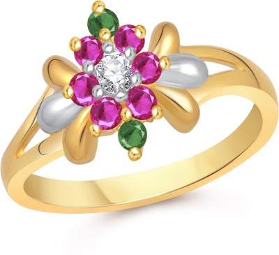 VK Jewels Lily Flower Alloy Cubic Zirconia 18K Yellow Gold Plated Ring