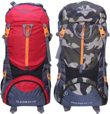 df71b3d907 57% OFF on Gleam 0109 Climate Proof Mountain Trekking   Campaign   Backpack  75 ltrs Red   Camouflage (with Rain Cover set of 2) Rucksack - 75  L(Multicolor) ...