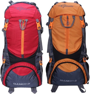 Gleam 0109 Climate Proof Mountain Trekking / Campaign / Backpack 75 ltr Red & Orange with Rain Cover set of 2 Rucksack  - 75 L(Multicolor) at flipkart