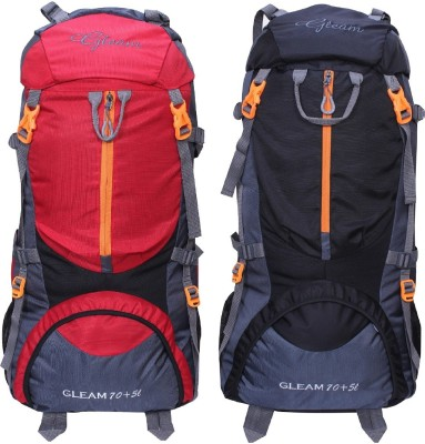 Gleam 0109 Climate Proof Mountain Trekking / Campaign / Backpack 75 ltr Red & Black with Rain Cover set of 2 Rucksack  - 75 L(Multicolor) at flipkart