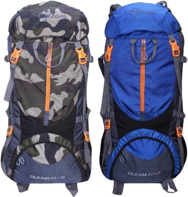 Gleam 0109 Climate Proof Mountain Trekking / Campaign / Backpack 75 ltr Camouflage & Royal Blue with Rain Cover set of 2 Rucksack  - 75 L(Multicolor) at flipkart