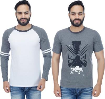 1182533da Sanvi Traders Solid Men Round Neck Multicolor T-Shirt(Pack of 2)