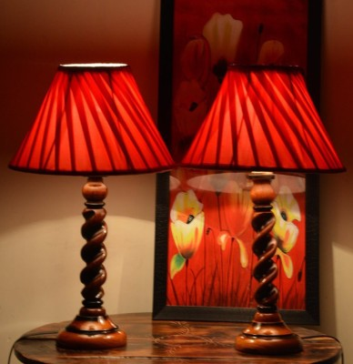 Beverly Studio 12 Inches diameter red cross pleated combo wooden lamp Table Lamp(50 cm, Red) at flipkart
