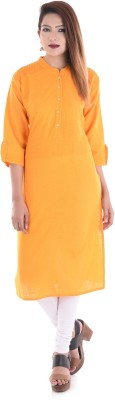 V.O COUTURE Casual Solid Girl's Kurti(Orange)