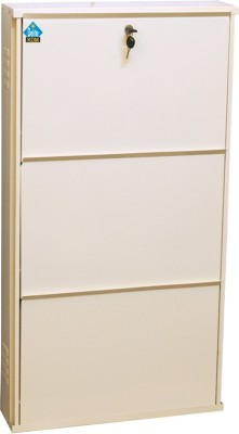 Delite Kom 20 Inches wide Three Door Powder Coated Wall Mounted Metallic Ivory Metal Shoe Rack(White, 3 Shelves)