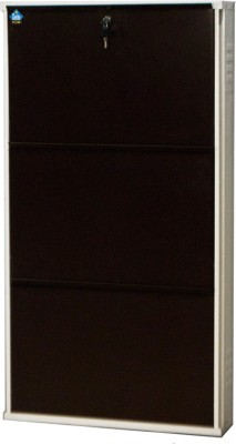 Delite Kom 20 Inches wide Three Door Powder Coated Wall Mounted Metallic Ivory Coffee Metal Shoe Rack(Brown, 3 Shelves)  available at flipkart for Rs.3775