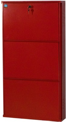 Delite Kom 20 Inches wide Three Door Powder Coated Wall Mounted Metallic Brick Red Metal Shoe Rack(Red, 3 Shelves)  available at flipkart for Rs.3999