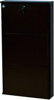 Delite Kom 20 Inches wide Three Door Powder Coated Wall Mounted Metallic Coffee Metal Shoe Rack(Brown, 3 Shelves)  available at flipkart for Rs.3999