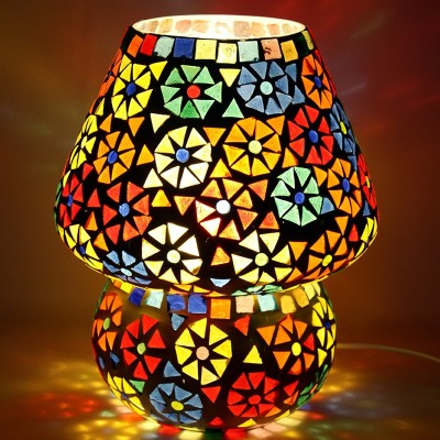 EarthenMetal Handcrafted Dome Shaped Multicoloured Flower Design Glass Table Lamp(24 cm, Multicolor) at flipkart