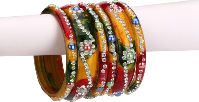 Somil Glass Crystal Enamel Bangle Set(Pack of 6) at flipkart