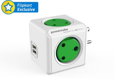 friendskart Powercube 2 USB Port With 4 Socket (Green) Mobile Charger(Green)