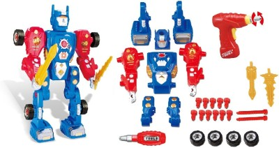 Toys Bhoomi Build Your Own Transform Robot Take A Part Modification Toy Playset with Power Drill, Lights   Sound   31 Pieces Multicolor Toys Bhoomi Bl