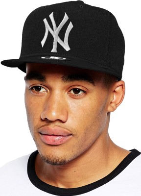 Sapiens Solid NY Snapback Hip Hop Cap Faux Leather Black Embroidered Cap