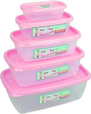 Nayasa MICROWAVE SAFE  - 150 ml, 300 ml, 680 ml, 1100 ml, 1800 ml Plastic Grocery Container(Pack of 5, Pink)  available at flipkart for Rs.200