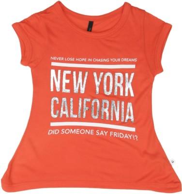 United Colors of Benetton Girls Printed Cotton Viscose Blend T Shirt(Orange, Pack of 1) at flipkart