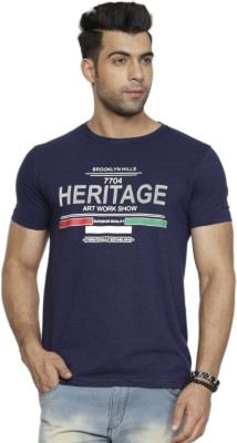 Perroni Printed Men Round Neck Dark Blue T-Shirt