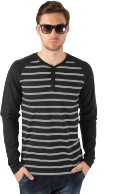 Rodid Striped Men Henley Black, Grey T-Shirt at flipkart