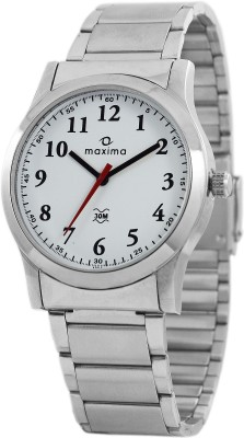 Maxima Analog White Dial Men's Watch, 42840CMGI