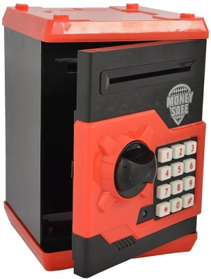 CATERPILLAR Money Safe Kids Piggy Savings Bank with Electronic Lock (Black & Red) Coin Bank(Black)