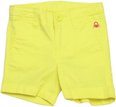 United Colors of Benetton Short For Girls Casual Solid Cotton Blend(Yellow)